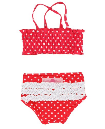 RuffleButts® Infant / Toddler Girls Ruched Ruffled Polka Dot Bikini - Red - 12-18m