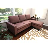 Large Brown Linen Modern Contemporary Upholstered Quality Adjustable Left or Right Sectional
