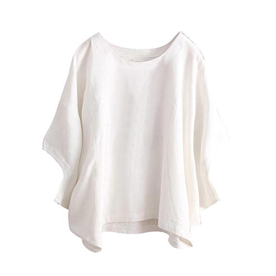 SANFASHION Bekleidung Camisas - con Botones - Liso - para Mujer Weiß 46 EU: Amazon.es: Ropa y accesorios