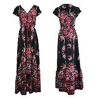 R.Vivimos Women Summer Vintage Floral Print Deep V Neck High Low Long Dresses