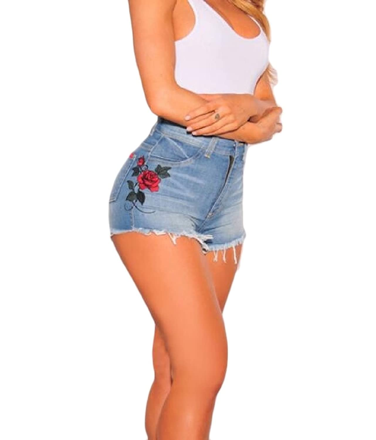 Abetteric Women Embroidery Hot Pants High Waist Sexy Slim Fitting Straight Shorts Jeans Blue M