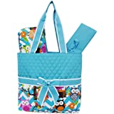 Light Aqua & White Chevron Owl Print 3pc. Diaper Bag (Aqua)