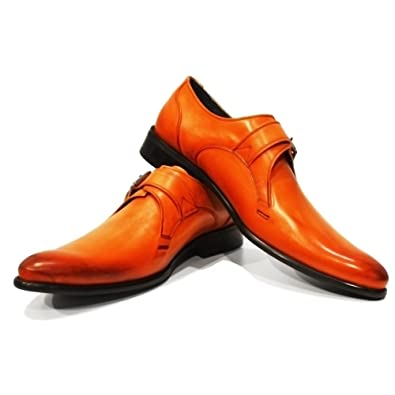 PeppeShoes Modello Braga - 40 EU - Handmade Italiennes Cuir Pour des Hommes  Orange Monk Chaussures