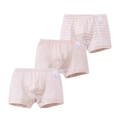 Zegoo 3-14 Year Boys Stripes Boyshort Underwear Cotton Briefs Nude 3 Pack