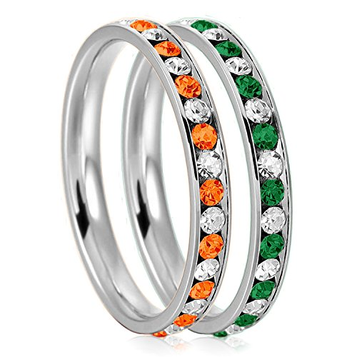 3mm Stainless Steel Crystal Channel Eternity Wedding Band Stackable Ring Set, Orange Hyacinth & Green Emerald Color, Size - Collection Infinity Tiffany