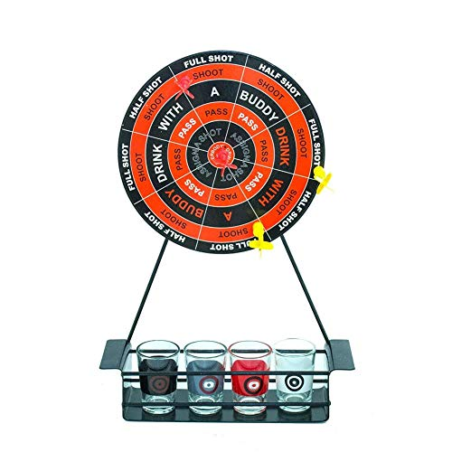 Fun Party Drinking Game,Down in One Adult Drinking Game with Mini Dart Board and Shot Glasses for Bar Party Drinking Game ()