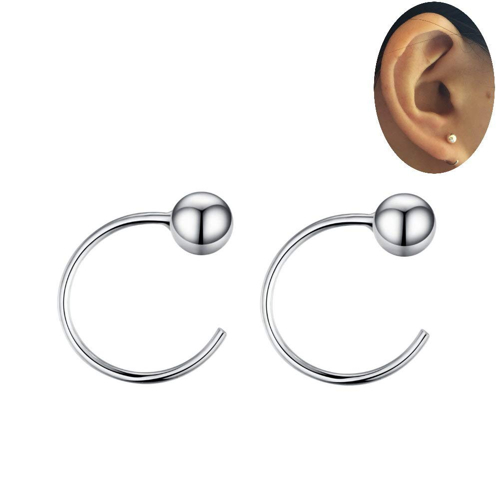 4mm Ball Half Small Piercing Hoop Studs Earrings for Cartilage Women Girls Sterling Silver Cuff Wrap Hypoallergenic IminiJewelry B07G3BL8SB_US