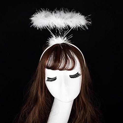 (LtrottedJ Ladied Fluffy Halo Angel Headband,Fairy Fancy Dress Party Hairband New (White))