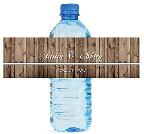 "100 Rustic Wood Wedding Water Bottle Labels Engagement Party 8""x2"""