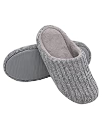 HomeIdeas Women's Cotton Knit Memory Foam Slippers Terry Cloth Anti Skid Indoor/Outdoor Slip-on House Shoes