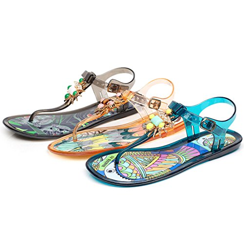 Beach Amarillo Female Shoes Bohemias Parte Eu36 5 Pintadas Rhinestone Inferior Clip color Tamaño cn35 uk3 Summer Plana Toes Sandalias 08OBdO