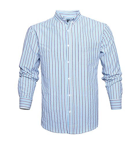 AVANZADA Men's Long Sleeve Striped Oxford Shirt Button Down Cotton Dress Shirts Blue L (Button Striped Down Mens Shirt)