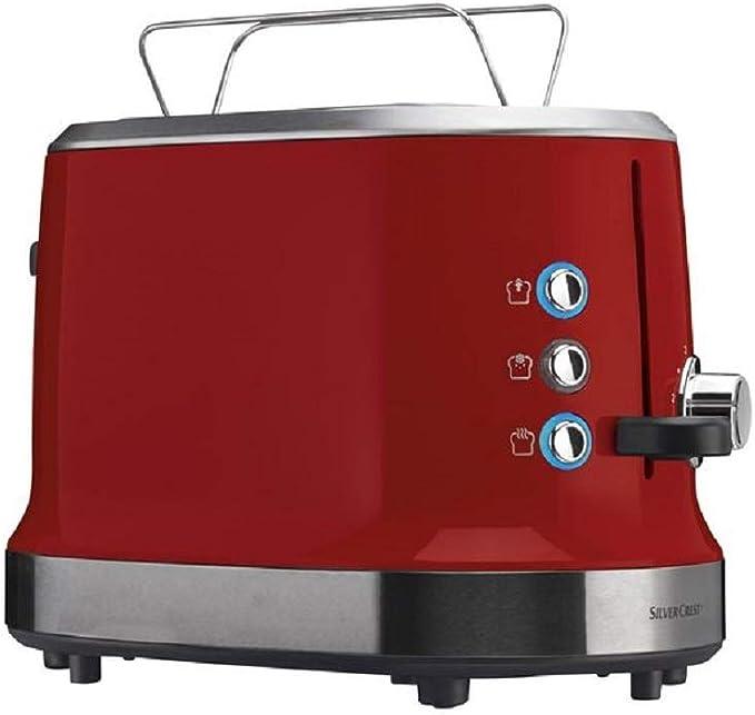 SILVERCREST STD 950 A1 - Tostadora con accesorio para panecillos integrado, regulador de tostado continuo (1-6) rojo: Amazon.es: Hogar
