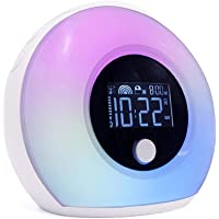 Wireless Charger Night Lamp Clock, Mini Portable Wake Up Light Digital Alarm Clock, Touch Screen 3-in-1 Cell Phone Wireless Fast Charger 5 Colorful Lights Bedside Night Lamp LED for Kid