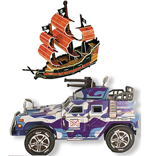 YINASI 3D Jigsaw Puzzles for Kids, Car and Pirate Ship Design - Easy Click Technology Means Pieces Brain Model DIY Building Sets Educational Learning Toys for Girls Boys Birthday Gifts ()