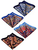 HISDERN 4 Pack Paisley Floral Printed Pocket Square Mens Handkerchief Hanky Set Wedding Party