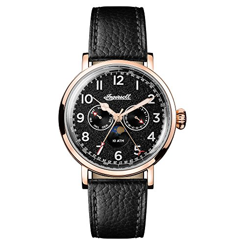 Ingersoll Men's Quartz Stainless Steel and Leather Casual Watch, Color:Black (Model: I01602)
