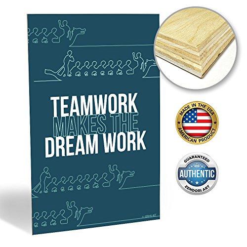 ZENDORI WOOD ART Inspirational Office Decor 'Teamwork Makes The Dream Work' (12 x 18, Blue)