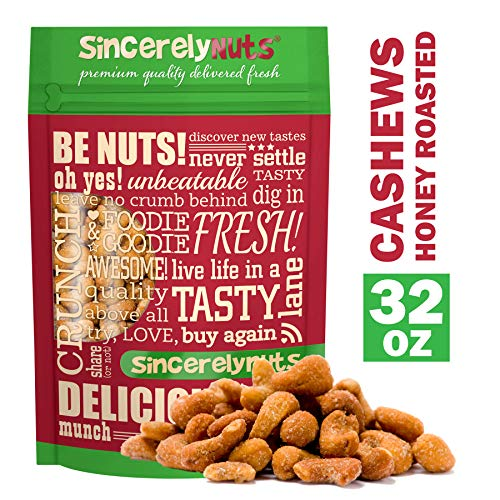 Sincerely Nuts - Honey Roasted Cashews | Two Lb. Bag | Deluxe Kosher Snack Food | Healthy Source of Protein, Vitamin & Mineral Nutritional Content | Gourmet Quality Cashew Nut