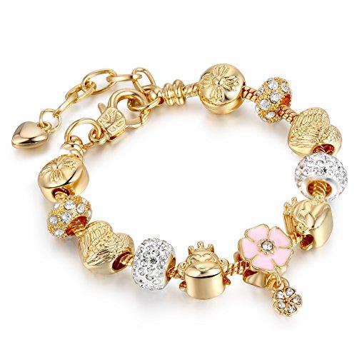 Flower Pendant Bracelet (Bracelets Gold Plated Snake Chain Bracelets Pendant Pink Flower Glass Crystal Beads Charms Bracelets for Women with Fine Gift Box)