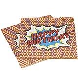 Ginger Ray Pop Art Superhero Decoration Happy Birthday Paper Napkins, Mixed