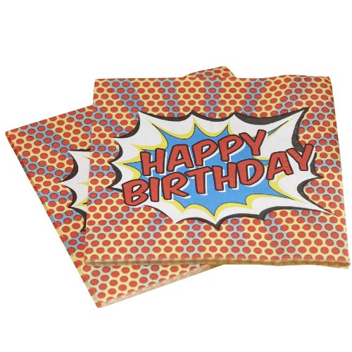 Ginger Ray PA-119 Pop Art Superhero Decoration Happy Birthday Paper Napkins, Mixed, 33cm