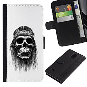 iKiki Tech / Cartera Funda Carcasa - Hippie Skull Peace Smoking Black - Samsung Galaxy Note 4 SM-N910