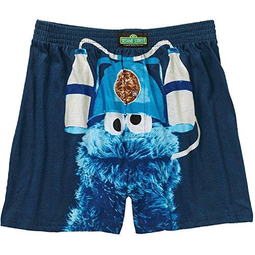 Sesame Street Cookie Monster Men's Boxer Shorts Cookies and Milk (Bert En Ernie Halloween)