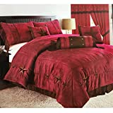 Western Peak Oversize Embroidery Texas Western Star Suede Comforter Bedding 7 Pieces Set (King, Red)