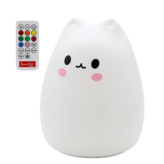 ANTEQI Carton Night Light Silicone Remote Timer Cute Cat Lamp Tap Control Lamp For Kids Bedroom Nursery Baby [Wireless Remote Timer, USB Charge, Warm & White Light, 9 Color Breathing]