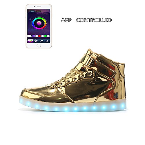 MaiDun Womens'Mens' App Controlled High Top LED Light Up Sneakers,Golden W US9