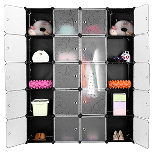 Modular Closet (LANGRIA 20-Cube DIY Modular Shelving Storage Organizing Closet with Translucent Doors and Opaque Curly Patterned Cube Design for Clothes, Shoes, Toys(Black and)