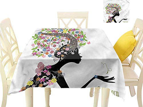 WilliamsDecor Fabric Tablecloth Zodiac Capricorn,Floral Woman BBQ Tablecloth W 36