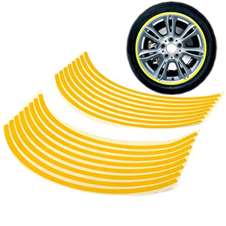 "16 – 18 ""amarillo rueda Borde Rayas reflectantes de Vinilo Adhesivo para coche motocicleta"