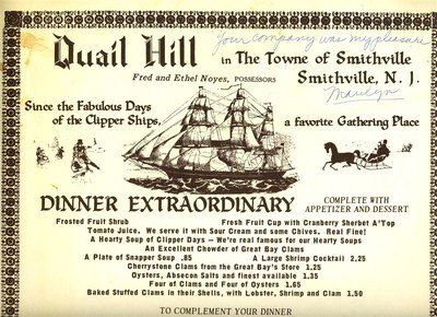 Quail Hill at Smithville Inn Dinner Menu Smithville New Jersey (1969 Jersey)