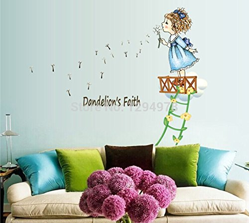 FunnyCraft Cute Lovely Little Girl Blow Dandelion Diy Removable Wall Stickers Children'S Room Nursery Home Decor Mural Decal Perfect Wall (Blue Ninja Turtle Name)