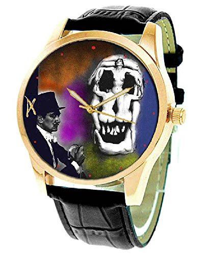 (FANTASTIC SALVADORE DALI EROTIC SURREAL SKULL ART COLLECTIBLE 40 mm SOLID BRASS WRIST WATCH)