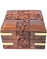 Mothers Day Gifts for Mum - Indian Highly Carved Beautiful Intrinsic Design Decorative Jewellery Box Wooden Case For Wife Size