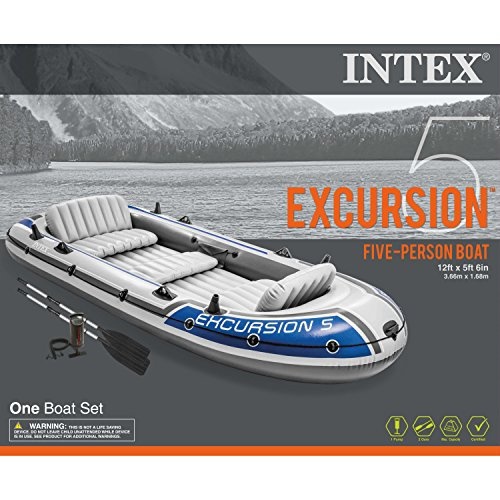 Intex Excursion 5, 5-Person Inflatable Boat Set with Aluminum Oars and High Output Air Pump (Latest Model) by Intex (Image #4)