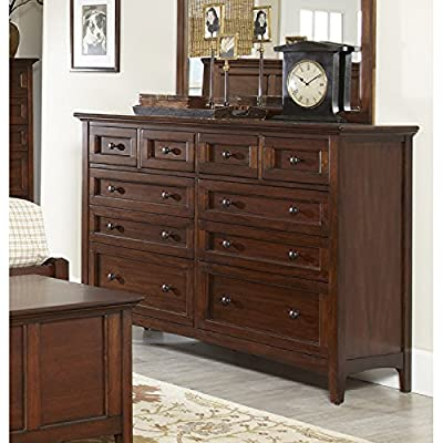10 Drawer Dresser Cedar Lined Antique Brass Hardware with Solid Knobs Shaker Lines with Framed Out Drawer Heads Mahogany Solids & Veneers Plus FREE GIFT