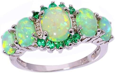 CiNily Green Fire Opal Emerald Rhodium Plated Women Jewelry Gemstone Ring Size 5-12