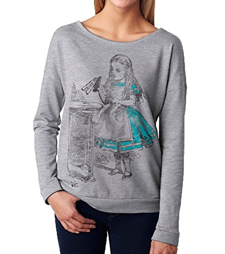 Superluxe™ Womens Drink Me Vintage Alice in Wonderland Long Sleeve T Shirt, XX-Large, Heather (Alice In Wonderland Shop)