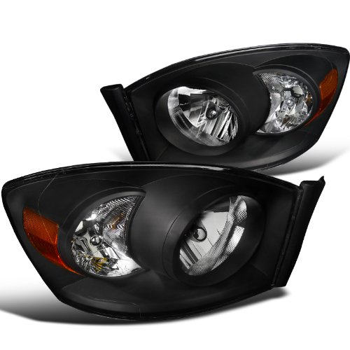 Diamond Headlights Black - Spec-D Tuning 2LH-DGP06JM-RS Dodge Ram Pickup Black Diamond Headlights W/O Amber Bar