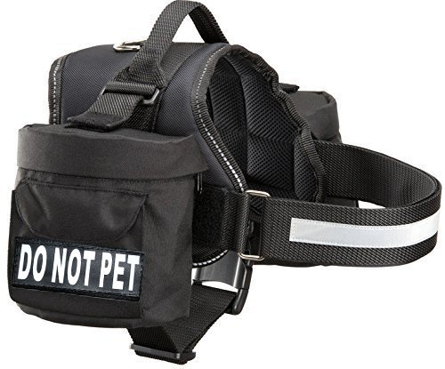 Black Girth 19-25\ Black Girth 19-25\ Doggie Stylz Do Not Pet Dog Harness Vest with Removable Saddle Bags and Reflective Patches. (Black Fits Girth 19-25 inches)