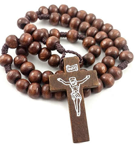Prayer Rosary Dark Natural Wood Beads Catholic Jesus Cross Rosario Of Jerusalem (Solid Rosary Cross)