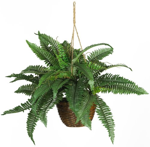Nearly Natural 6599 Boston Fern Silk Hanging Basket Green