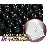 ENGLISH US KEYBOARD STICKERS WITH WHITE LETTERING ON TRANSPARENT BACKGROUND