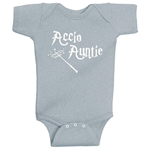 BeeGeeTees Accio Auntie Harry Potter Inspired Baby Outfit Unique Shower Gift (Newborn, Gray White -