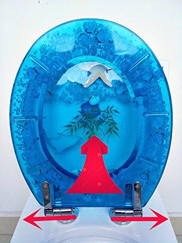 vainilla y para U//V//O tipo para inodoro con tapa alargado Ocean Series Art resina asiento para inodoro con tapa de cierre lento 3d efectos resistente tapa de inodoro con dise/ño de delf/ín de concha marina real Arenas estrella de mar