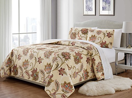 Fancy Collection 3 Pc King/California King Quilted Bedspread Floral Print Beige Taupe Blue Red Over Size New